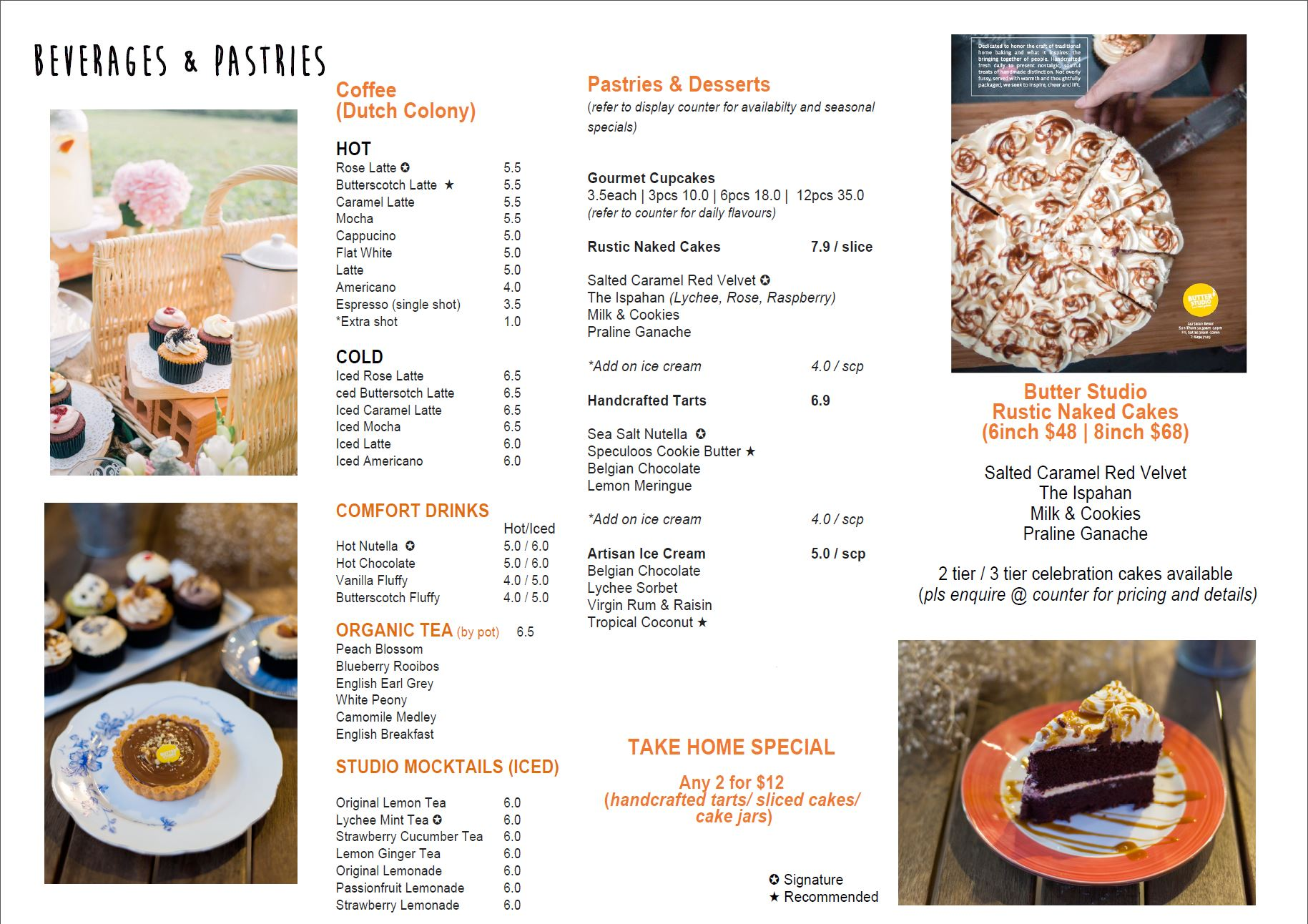 Beverages and Pastries Menu